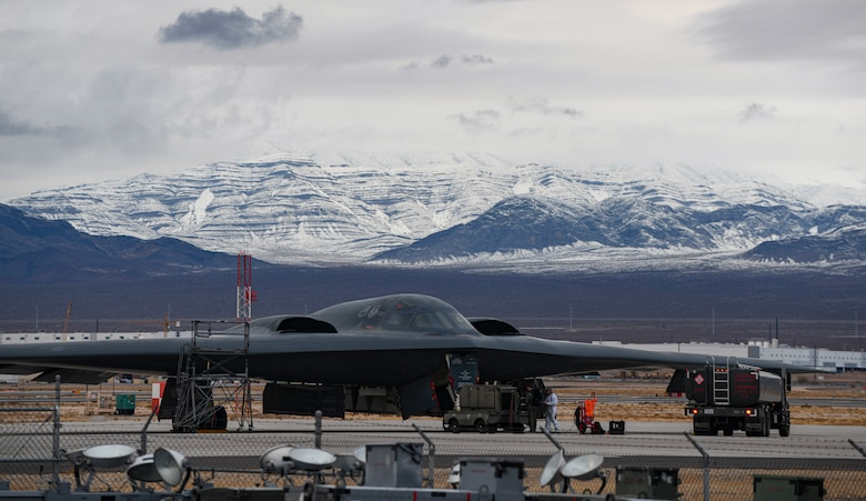 Team Whiteman Airmen prepare a B-2 Spirit Stealth Bomber for a training mission during Red Flag 21-1, at Nellis Air Force Base, Nevada, Jan. 26, 2021. Team Whiteman brought approximately a hundred Airmen to participate in the large force exercise and to be the lead Wing. As the lead Wing, RF 21-1 enables Team Whiteman to maintain a high state of readiness and proficiency, while validating their always-ready global strike capability. (U.S. Air Force photo by Staff Sgt. Sadie Colbert)