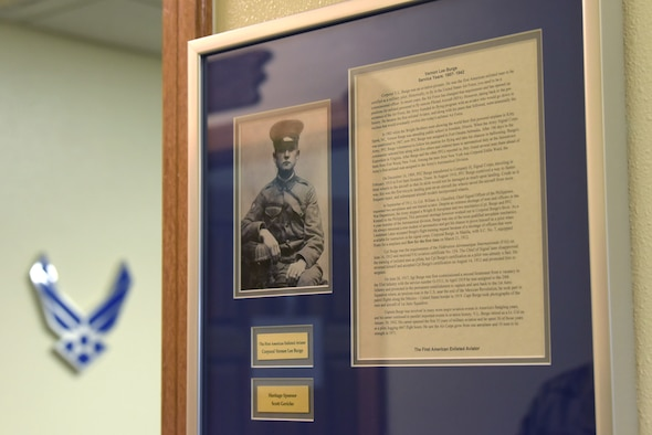 Cpl. Vernon Lee Burge's photo hangs on a wall of a McDaniel Center classroom, Jan. 8, 2021, at Kadena Air Base, Japan. Burge was the first American enlisted man to be certified as a military pilot, he was a pioneer in aviation and an innovator. (U.S. photo by Airman 1st Class Rebeckah Medeiros)