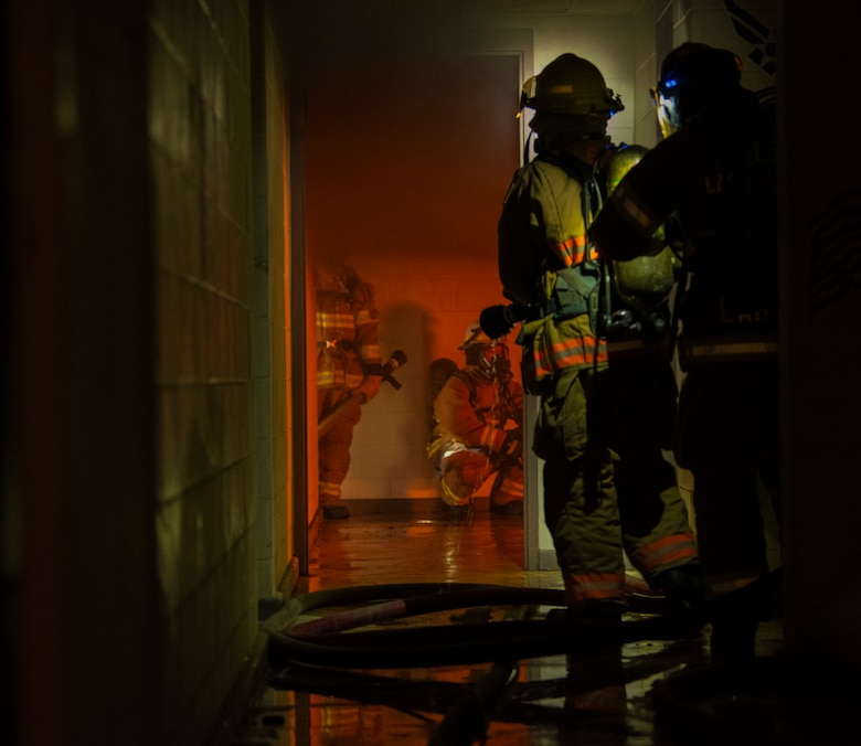 Osan FD Practices Fire Training in Real-World Structure