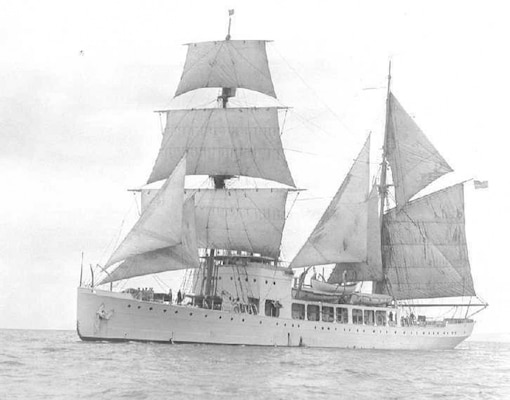 Rare photograph of Northland under sail. Her sails were rarely used so the sail rig was taken down and the masts used for antenna and electronic gear. (U.S. Coast Guard)