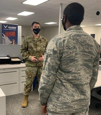 Master Sgt. Christopher Resio, an Air Force Reserve in-service recruiter at Keesler Air Force Base, Mississippi, is one of many Air Force Reserve and Air National Guard recruiters ready to help active-duty Airmen continue serving in the Air Force as force-shaping actions were made necessary by record Air Force retention levels in 2020