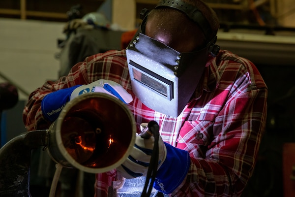 Welder Apprentice Graduate Jarrett Thompson has paved out a career for himself at NNSY since completing the Apprenticeship Program.