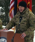 Lt. Col. Matthew Wignall speaks to Soldiers with the Vermont National Guard's 3rd Battalion, 172nd Infantry, 86th Infantry Brigade Combat Team (Mountain), during a sendoff ceremony Jan. 29, 2021, at the Camp Ethan Allen Training Site parade field in Jericho, Vermont. The 3-172nd will deploy for a year as Task Force Avalanche to support U.S. Central Command operations. Wignall is the 3-172nd Infantry commander. (U.S. Army National Guard photo by Don Branum)