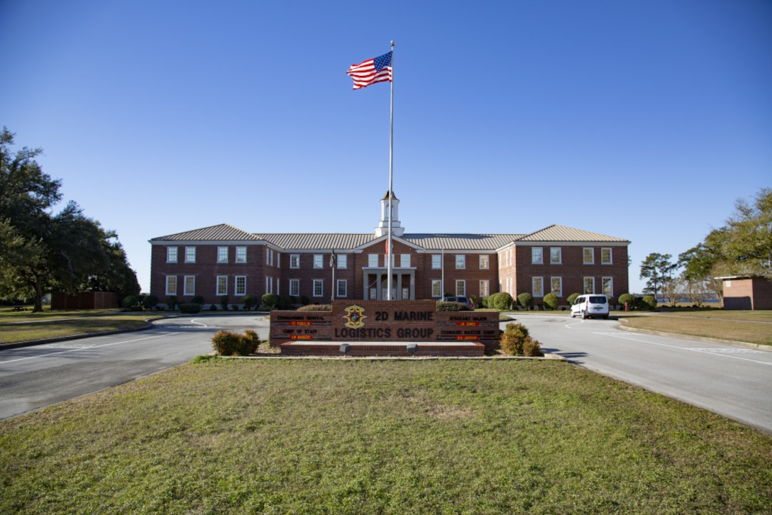 Exterior shot of Building 2, site of the current 2d Marine Logistics Group headquarters. In 2023, 2d MLG will move its headquarters to a new 35,000 square foot facility in French Creek. Building 2 will then be renovated and become the site of new 2d Marine Division headquarters with 45,000 square feet of added space in 2025.
