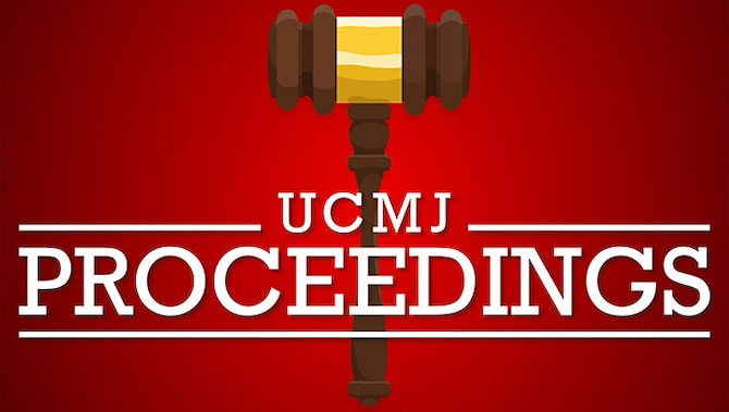 """A gavel is pictured behind text """"UCMJ Proceedings"""""""