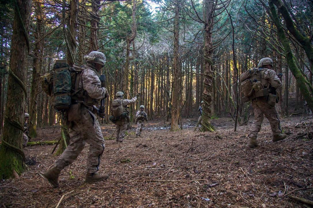 Marines walk in between trees.