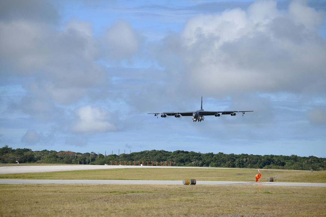 A B-52 Stratofortress assigned to Barksdale Air Force Base, La., arrives at Andersen Air Force Base, Guam, in support of a Bomber Task Force deployment, Jan. 26, 2020. The aircraft, from the 96th Bomb Squadron at Barksdale AFB, La., deployed in support of Pacific Air Forces' training efforts with allies, partners and joint forces.
