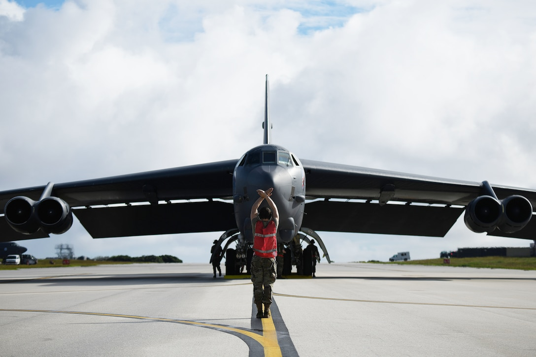 A B-52 Stratofortress assigned to Barksdale Air Force Base, La., arrives at Andersen Air Force Base, Guam, in support of a Bomber Task Force deployment, Jan. 26, 2020. The B-52 is a long-range, heavy bomber that is capable of flying at high subsonic speeds of altitudes of up to 50,000 feet and provides the U.S. with a global strike capability. The deployments also provide Airmen opportunities to train and work with allies and partners in realistic, joint coalition operations and exercises.