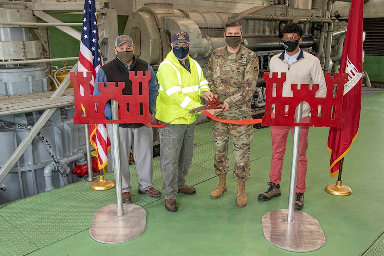 IN THE PHOTO, Memphis District Commander Col. Zachary Miller and other district members held a ribbon-cutting ceremony symbolizing the victory and celebration of completing yet another significant project. (USACE photo by Vance Harris)