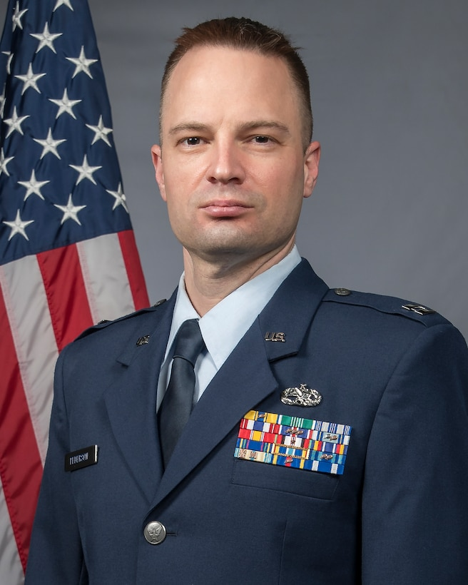 Official Air Force photo for Capt. Ken Pederson. Assigned to the 131st Maintenance Group, Pederson is the 131st Bomb Wing Company Grade Officer of the Year. (U.S. Air National Guard photo by Tech. Sgt. John E. Hillier)