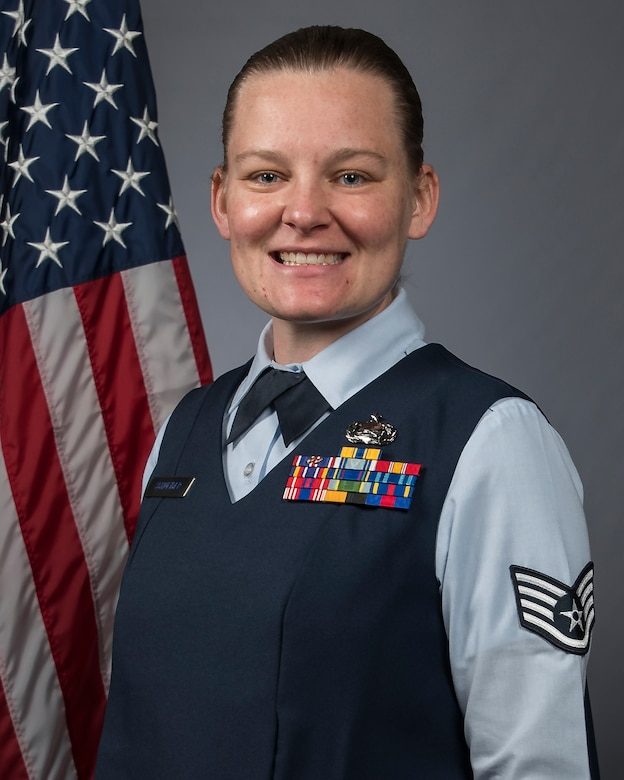 Official Air Force photo for Staff Sgt. Brittney Schneider. Assigned to the 131st Mission Support Group, Schneider is the 131st Bomb Wing NCO of the Year. (U.S. Air National Guard photo by Tech. Sgt. John E. Hillier)