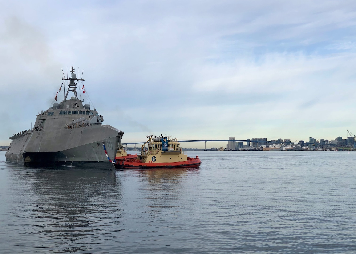 USS Gabrielle Giffords returns to homeport of Naval Base San Diego.