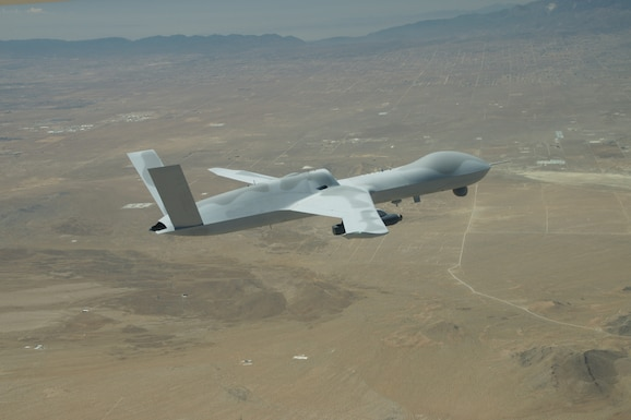A General Atomics MQ-20 Avenger unmanned vehicle returns to El Mirage Airfield, Calif. June 24, 2021. The MQ-20 successfully participated in Edwards Air Force Base's Orange Flag 21-2 to test the Skyborg Autonomy Core System. (Photo courtesy of General Atomics)