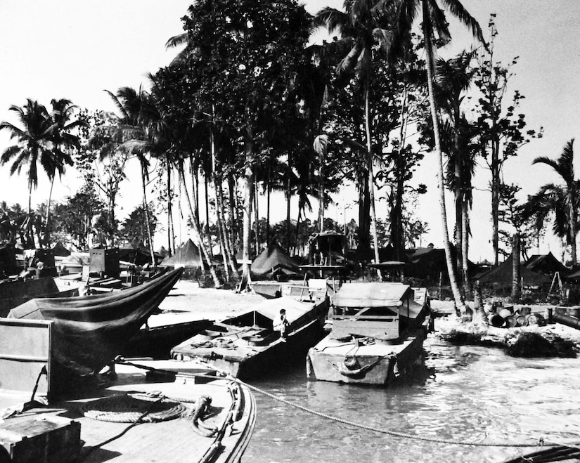 Small boats sit in an island harbor with palm trees in the background.