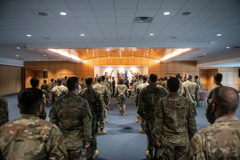 Members of the 325th Munitions Squadron stand in formation during an activation ceremony at Tyndall Air Force Base, Florida, June 29, 2021. In the last two years, Air Combat Command has activated five munitions squadrons as they move towards providing better support to Agile Combat Employments. (U.S. Air Force photo by Staff Sgt. Stefan Alvarez)