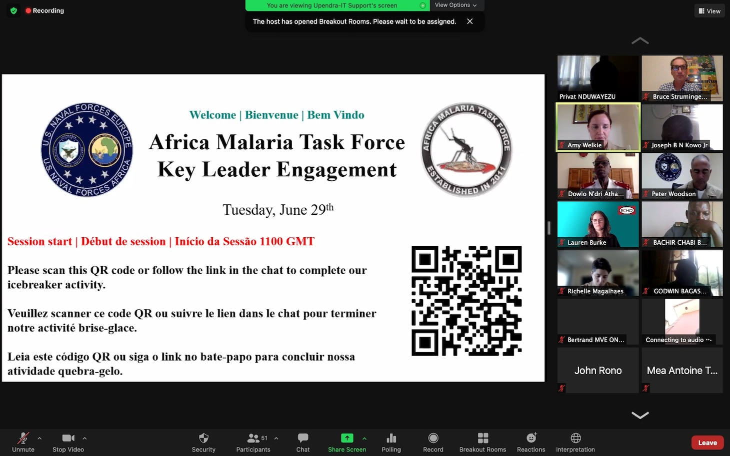 (June 29, 2021) Attendees participate in a two-day virtual training event, hosted by U.S. Naval Forces Europe-Africa (NAVEUR-NAVAF) Force Medical, June 29, 2021, in support of Africa Malaria Task Force (AMTF) in Naples, Italy. AMTF is a program that was developed in 2011, designed to strengthen and expand effective malaria programs and provide support for military personnel, their families, and their communities.