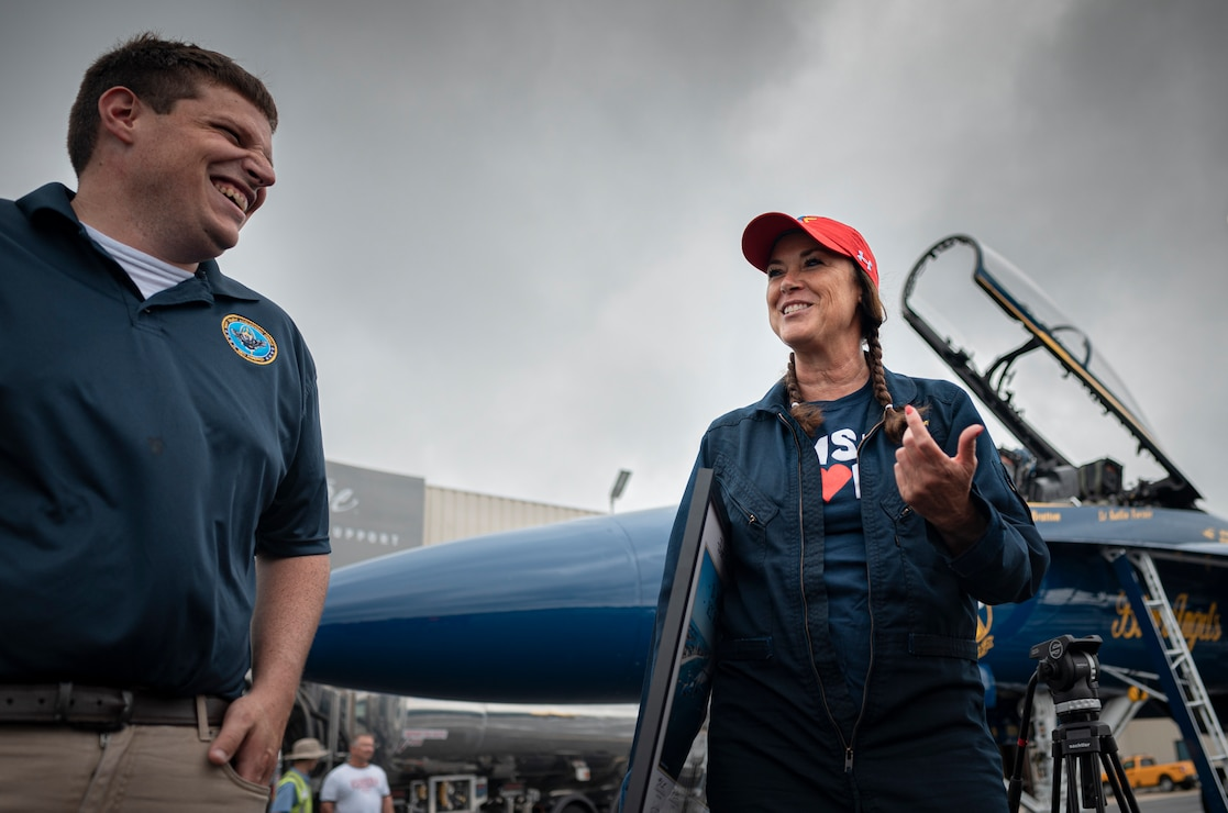 Dr. Michelle Hubbard flies with the the Blue Angels at New Century Air Center in Gardner Kan.