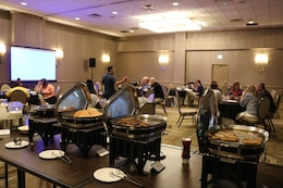 food and people at conference