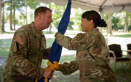 Lt. Col. Melissa Johnson assumes responsibility of Product Manager Soldier Maneuver Sensors during a Change of Charter ceremony in Fort Belvoir, VA.