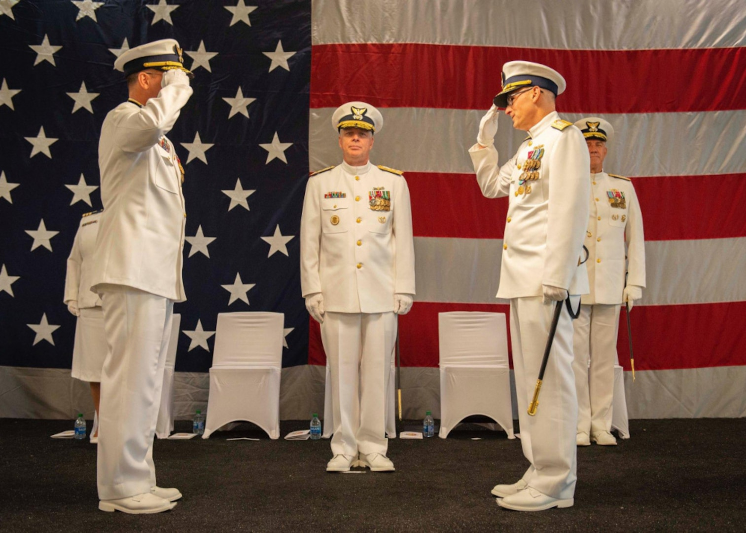The Coast Guard 8th District personnel held a change-of-command ceremony June 25, 2021 at the Port of New Orleans where Rear Adm. John P. Nadeau transfered command of the Coast Guard 8th District to Rear Adm. Richard V. Timme. Nadeau originally took command of the 8th District in June 2019 and retired after 32 years of service following the change of command. (U.S. Coast Guard photo by Petty Officer 3rd Class John Michelli)