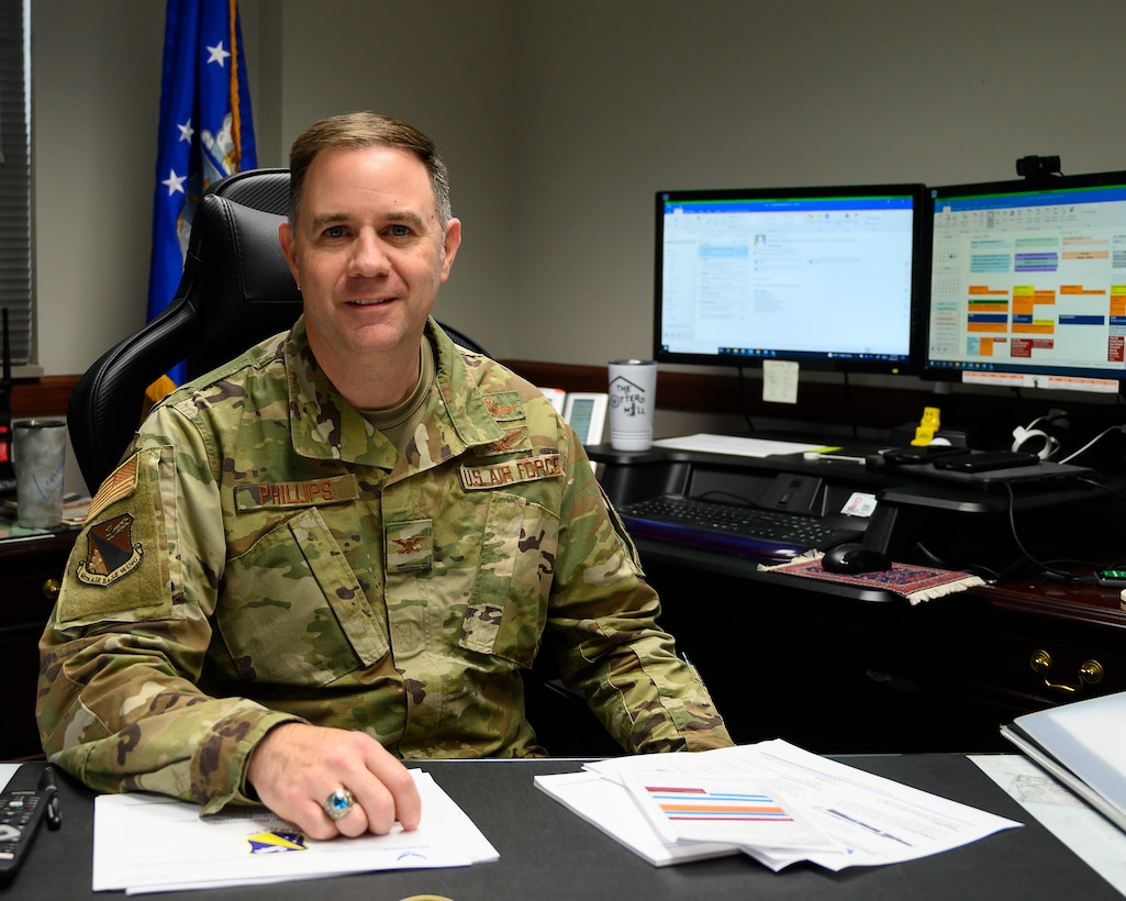 Col. Michael Phillips, 88th Air Base Wing vice commander, poses in his office June 24, 2021, at Wright-Patterson Air Force Base, Ohio. Phillips was wrapping up a two-year tour before transferring down the street to Air Force Materiel Command headquarters. (U.S. Air Force photo by R.J. Oriez)