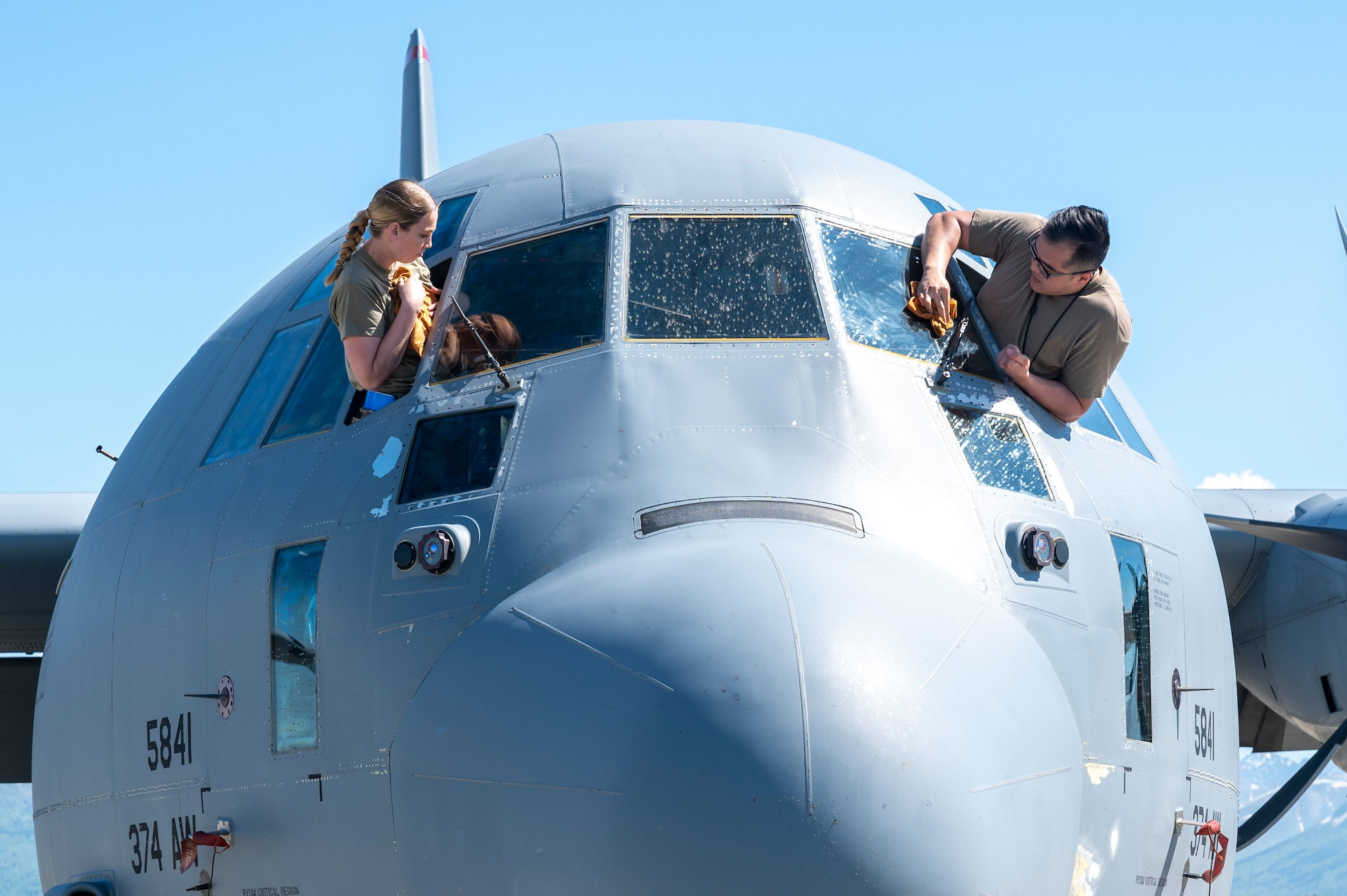 C-130J Super Hercules window cleaning during Red Flag-Alaska 21-2