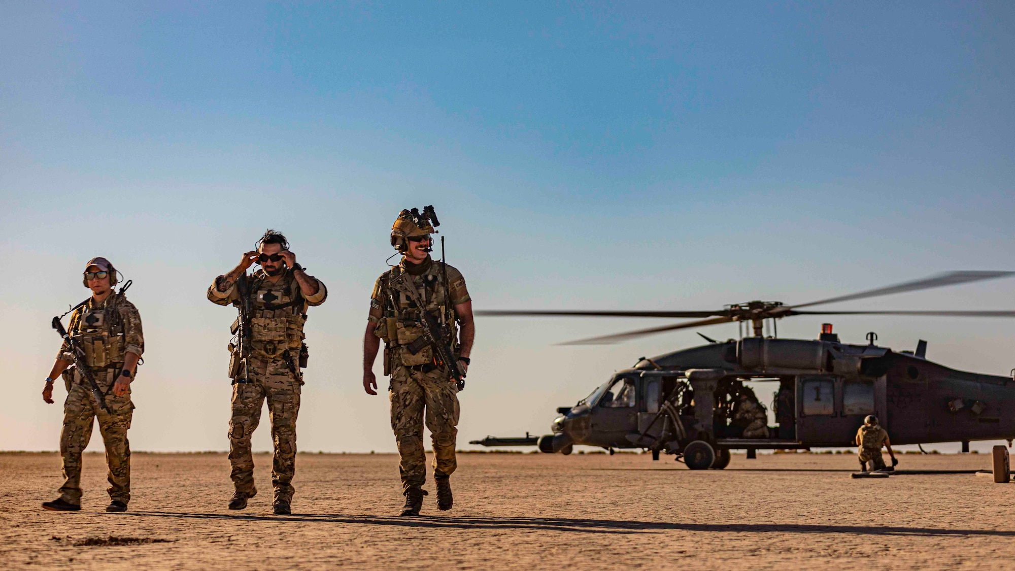 Airmen with the 26th Expeditionary Rescue Squadron conduct refueling operations