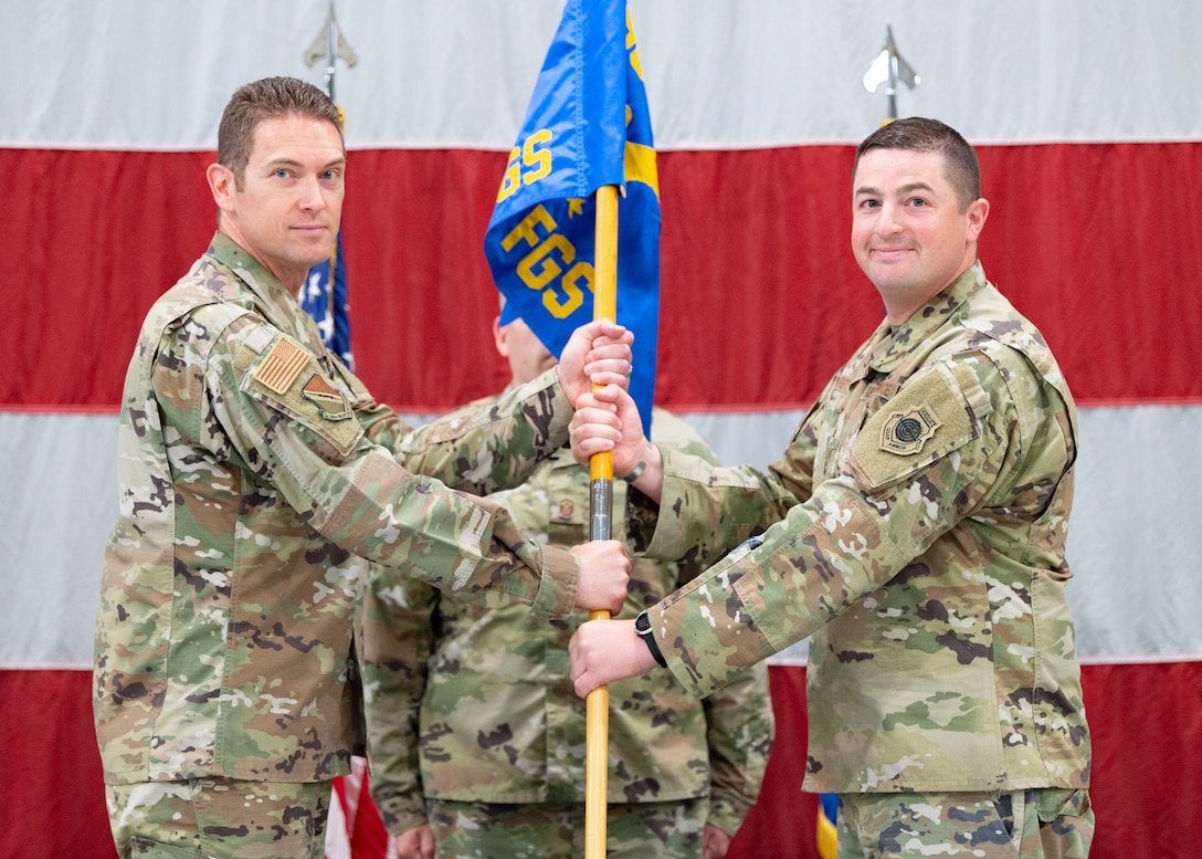 Maj Justin Shetter assumes command of the 421st Fighter Generation Squadron, at Hill Air Force Base, Utah, on June 25, 2021. Shetter previously served as the Maintenance Operations Officer for the 57th Aircraft Maintenance Squadron at Nellis AFB, Nev. (U.S. Air Force photo by Staff Sergeant Thomas Barley)