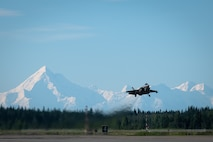 An F-35A Lightning II assigned to the 355th Fighter Squadron (FS) takes off from Eielson Air Force Base, Alaska, July 1, 2021.
