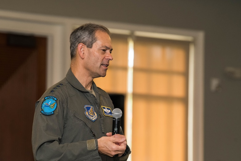 U.S. Air Force Gen. Ken Wilsbach, Pacific Air Forces (PACAF) commander, speaks to subordinate commanders and spouses during a PACAF Squadron Commander's Course, Joint Base Pearl Harbor-Hickam, Hawaii, June 21, 2021. The course was attended by squadron commanders preparing to take command within PACAF and their spouses. Spouses were invited to attend in order to receive insight and mentorship for the challenges they may face alongside their partners.  (U.S. Air Force photo by Staff Sgt. Hailey Haux)