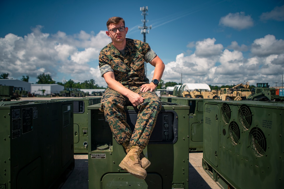 U.S. Marine Corps Sgt. Justin Victor, a native of Walled Lake, Mich., and a maintenance chief with 10th Marine Regiment, 2d Marine Division, poses for a photo at Camp Lejeune, N.C., June 30, 2021. Victor was selected as the motivator of the week for 2d Marine Divsion for his outsdanding performance attending the Advanced Electrical Engineer Systerm Technician Course, where he received a grade point average of 99.1%, which set the record for the new iteraton of the course. Victor uses his gained knowledge to teach his Marines and guides them with his experiences. (U.S. Marine Corps photo by Pfc. Sarah Pysher)