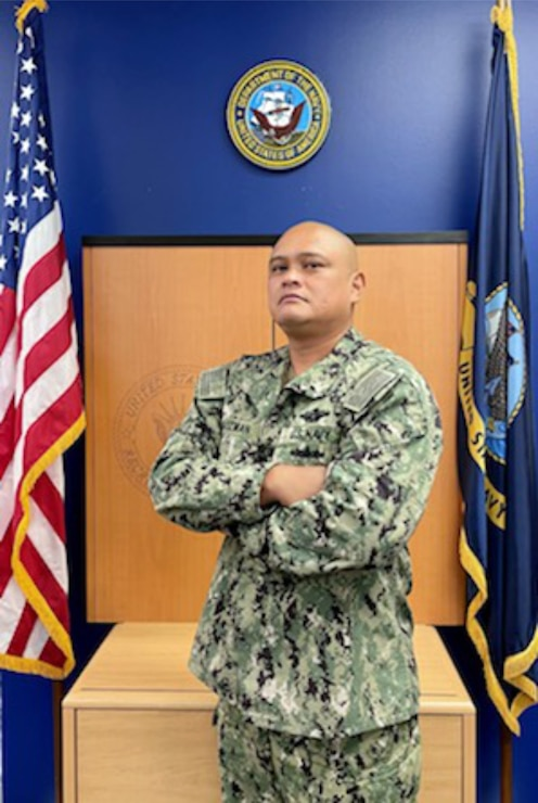 Navy Talent Acquisition Group (NTAG) Southwest Medical Recruiter Chief Hospital Corpsman Marvin B. Guzman stands for a photo.