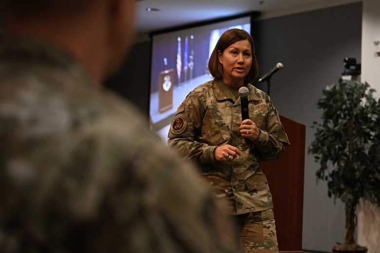 Chief Master Sgt. of the Air Force JoAnne S. Bass speaks to Space and Missile Systems Center and 61st Air Base Group Airmen and Guardians during an enlisted all call July 1, 2021, at Los Angeles Air Force Base, California. During her visit, Bass was immersed in the space acquisition mission, recognized outstanding performers and attended the retirement ceremony of Chief Master Sgt. Lisa Arnold, SMC command chief. (U.S. Space Force photo by Staff Sgt. Andrew Moore)