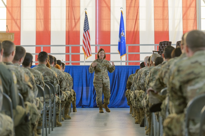 Chief Master Sgt. of the Air Force JoAnne S. Bass talks to almost 300 Airmen at a town hall during her visit to Edwards Air Force Base, California, June 29. (Air Force photo by Kyle Brasier)