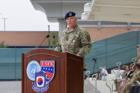 General Paul J. LaCamera provides remarks during the United Nations Command, Combined Forces Command, and U.S. Forces Korea change of command ceremony on July 2, 2021 at Barker Field. (U.S. Army photo by Staff Sgt. Kris Bonet)
