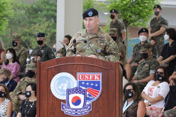 """General Robert B. """"Abe""""Abrams gives farewell remarks during the United Nations Command, Combined Forces Command, and U.S. Forces Korea change of command ceremony on July 2, 2021 at Barker Field. (U.S. Army photo by Staff Sgt. Kris Bonet)"""