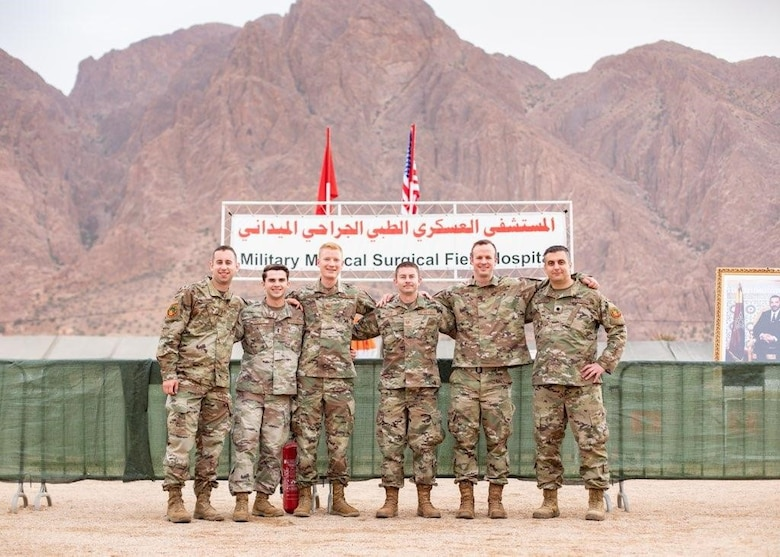 Supporting Exercise African Lion 21 and pictured from left are 2nd Lt. Matthew Manner, 1st Lt. Morgan Geneste, Maj. Stephen Graff, Tech Sgt. Ty Wells, Maj. Zachary Zeigler and Lt. Col. Qais Rabadi. (Courtesy photo)