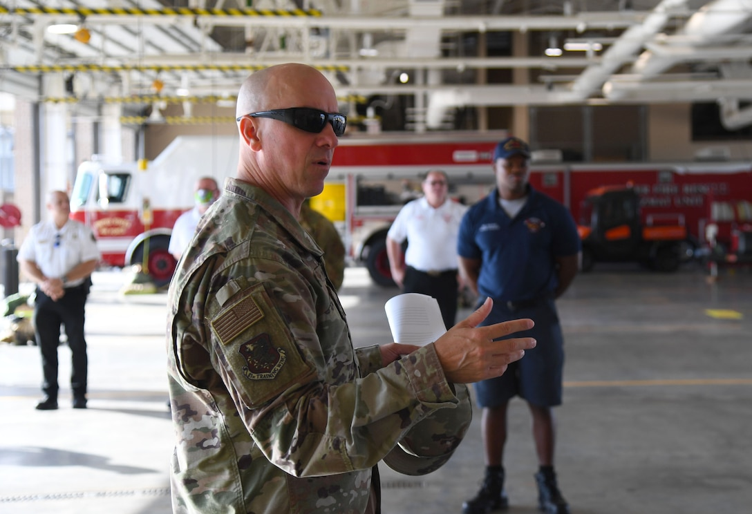 U.S. Air Force Col. William Hunter, 81st Training Wing commander, tours the Keesler Fire Department during an 81st Mission Support Group immersion tour at Keesler Air Force Base, Mississippi, June 24, 2021. The purpose of the tour was to become more familiar with Keesler's mission. (U.S. Air Force photo by Kemberly Groue)