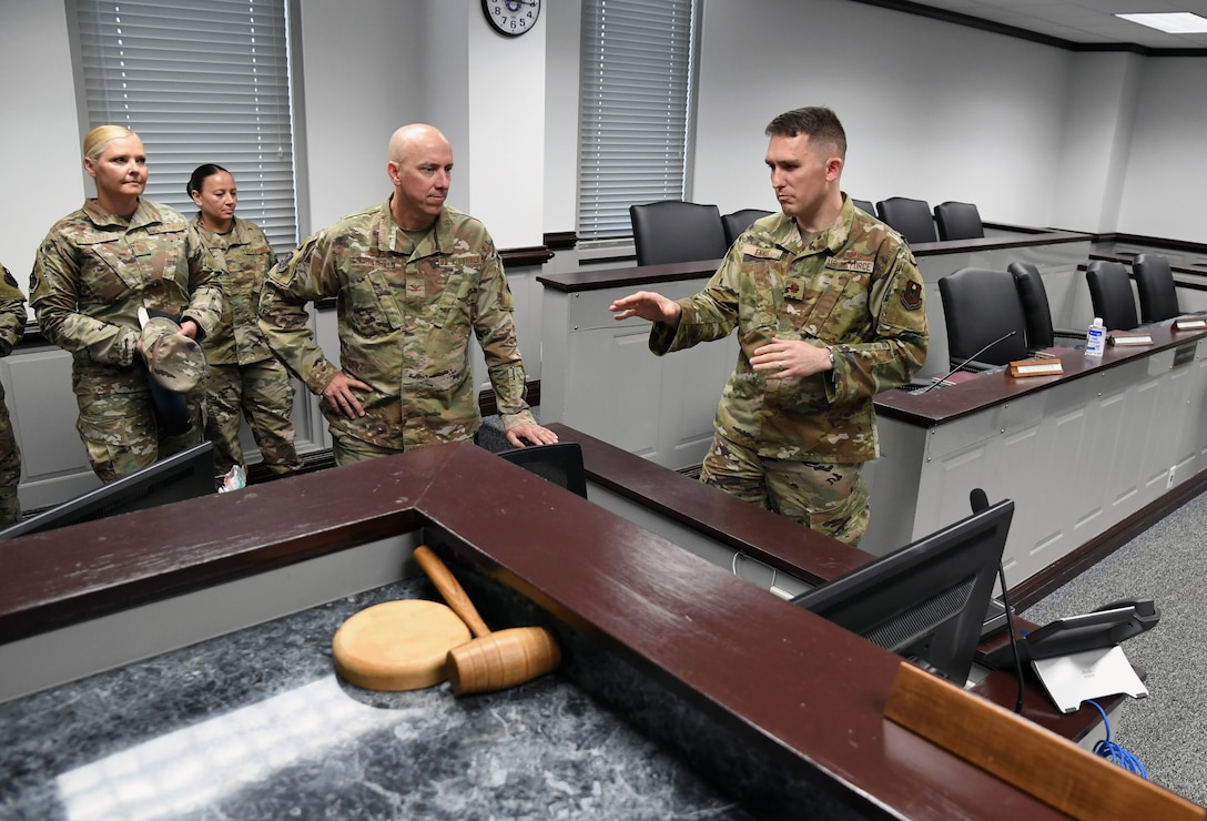U.S. Air Force Col. William Hunter, 81st Training Wing commander, tours the court room inside the Sablich Center during an 81st Training Wing wing staff agency immersion tour at Keesler Air Force Base, Mississippi, June 28, 2021. The purpose of the tour was to become more familiar with Keesler's mission. (U.S. Air Force photo by Kemberly Groue)