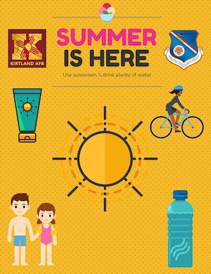 Poster about summer safety, emphasizing sunscreen and hydration.