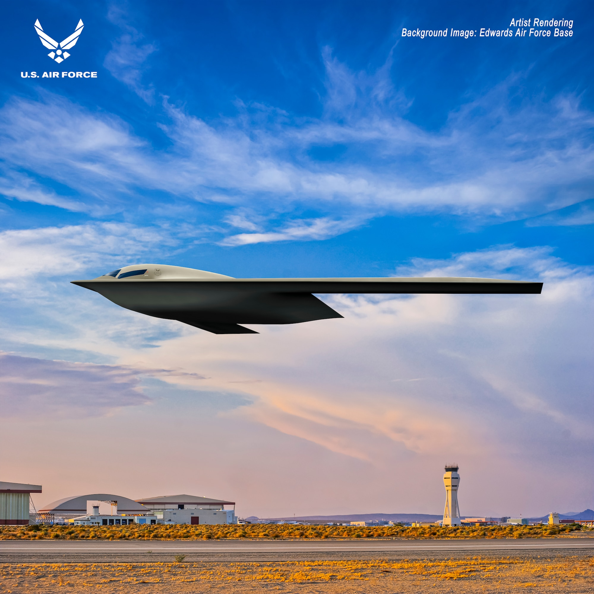 Shown is a B-21 Raider artist rendering graphic. The rendering highlights the future stealth bomber with Edwards Air Force Base, Calif., as the backdrop. Designed to perform long range conventional and nuclear missions and to operate in tomorrow's high end threat environment, the B-21 will be a visible and flexible component of the nuclear triad. (U.S. Air Force graphic)