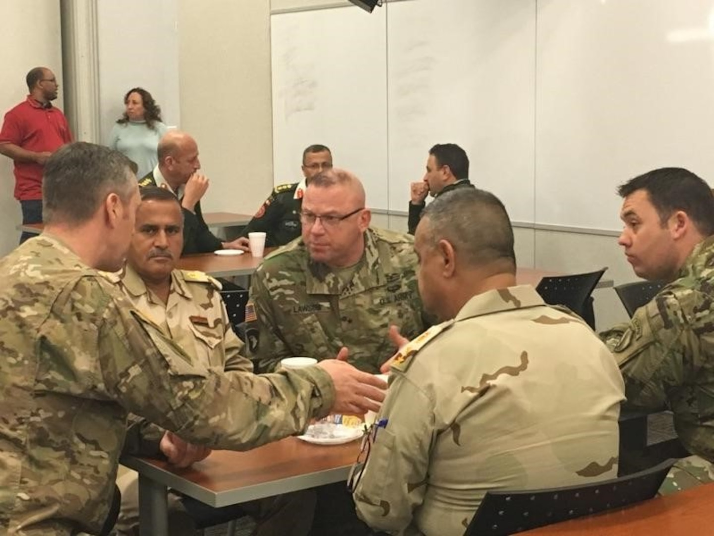 In September 2016, Lawson leads a logistics symposium at Central Command Headquarters, Tampa Florida, with 13 countries from the Middle East, Gulf Coast countries, Levant and Central Asia to improve International Coalition interoperability in the Central Command area of responsibility.