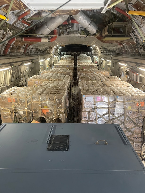 A partially loaded C-17 Globemaster III flown by 446th Airlift Wing aircrew headed for Port au Prince, Haiti, June 14, 2021.
