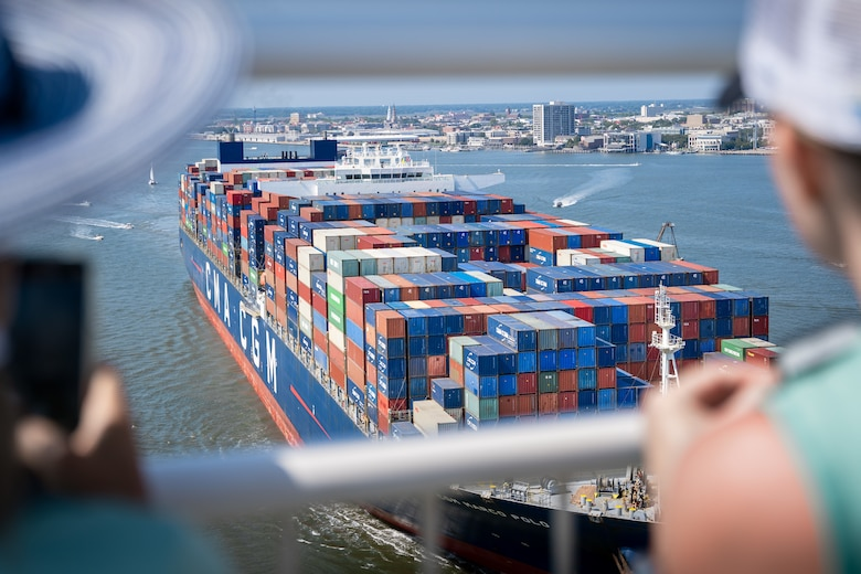 Ship enters harbor