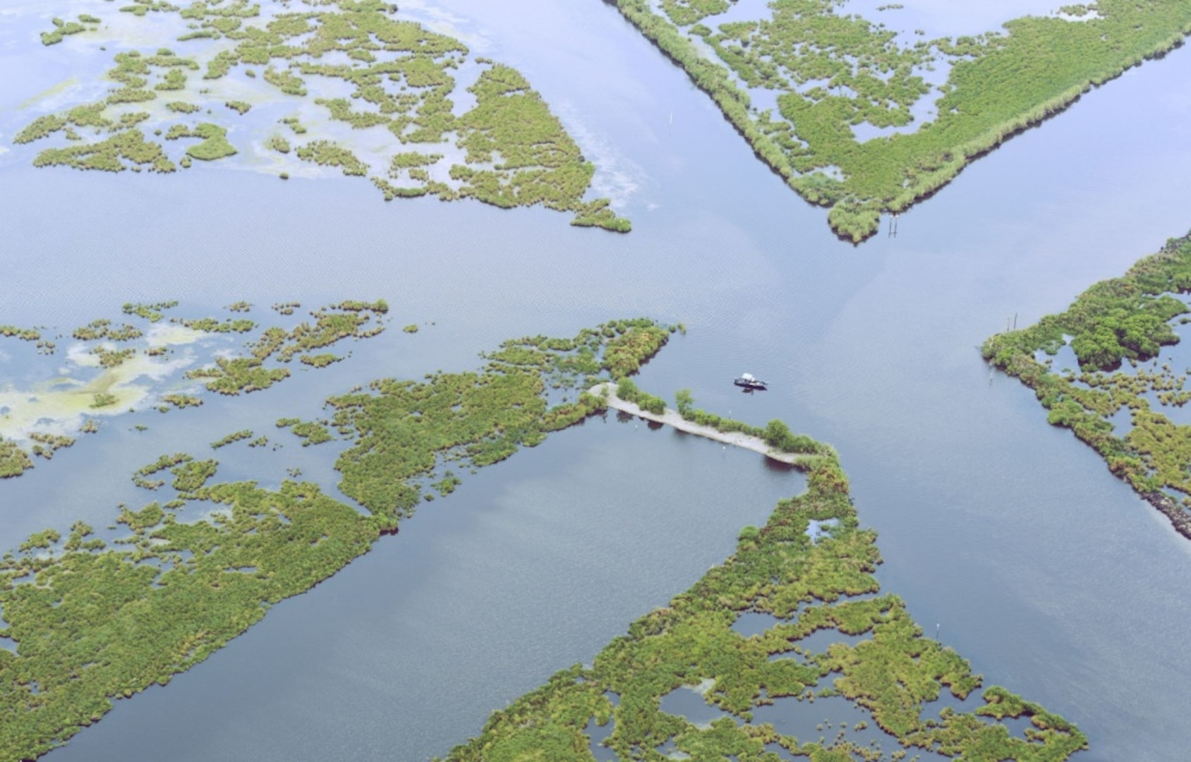 An aerial shot of the tidal flats and marshlands in southern Louisiana, taken June 25, provides an idea of just how difficult oil clean-up operations would be in such a shallow and densely vegetated environ. Coast Guard members and civilian boat crews are working to boom off inlets to these areas in order to prevent contamination of one of the Gulf Coast's most sensitive ecosystems.