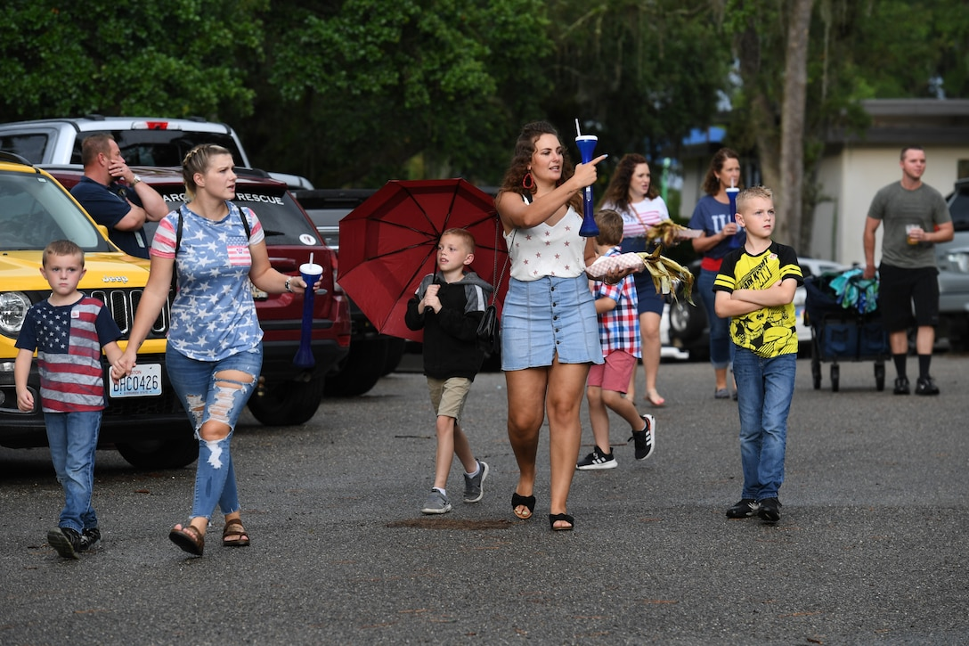 Keesler personnel and families attend Freedom Fest at Marina Park at Keesler Air Force Base, Mississippi, July 2, 2021. The event also included hot wings and watermelon eating competitions and fireworks. (U.S. Air Force photo by Kemberly Groue)