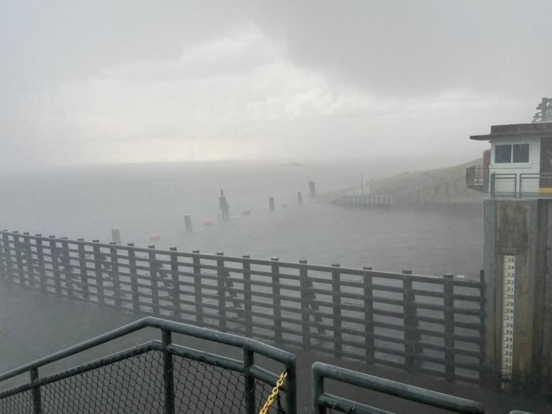 Port Mayaca Lock and Dam during Tropical Storm Elsa