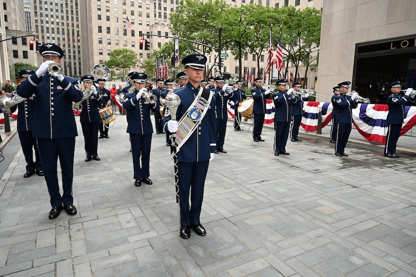 The United States Air Force Band's Ceremonial Brass performs live on the TODAY Show in New York City July 2, 2021. The official ceremonial ensemble comprises 41 active-duty Airmen who provide musical support for funerals at Arlington National Cemetery, arrivals for foreign heads of state at the White House and Pentagon, patriotic programs, changes of command, retirements, and awards ceremonies. (U.S. Air Force photo by Staff Sgt. Kayla White)