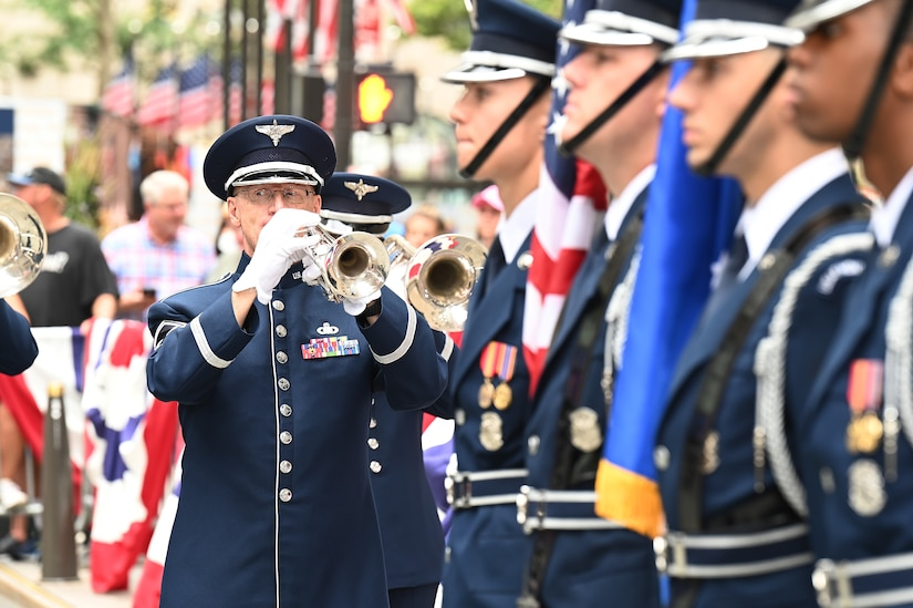 U.S. Air Force Senior Master Sgt. Ken Oedemann, a trumpet player assigned to The United States Air Force Band's Ceremonial Brass, performs during a live broadcast on the TODAY Show in New York City July 2, 2021. Oedemann will retire in December 2021 after 26 years of service as a U.S. Air Force musician. The official ceremonial ensemble comprises 41 active-duty Airmen who provide musical support for funerals at Arlington National Cemetery, arrivals for foreign heads of state at the White House and Pentagon, patriotic programs, changes of command, retirements, and awards ceremonies. (U.S. Air Force photo by Staff Sgt. Kayla White)