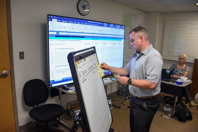 Tech. Sgt. Jeff Abel places a sticky note onto a giant note pad, recording an idea from one of the team members.